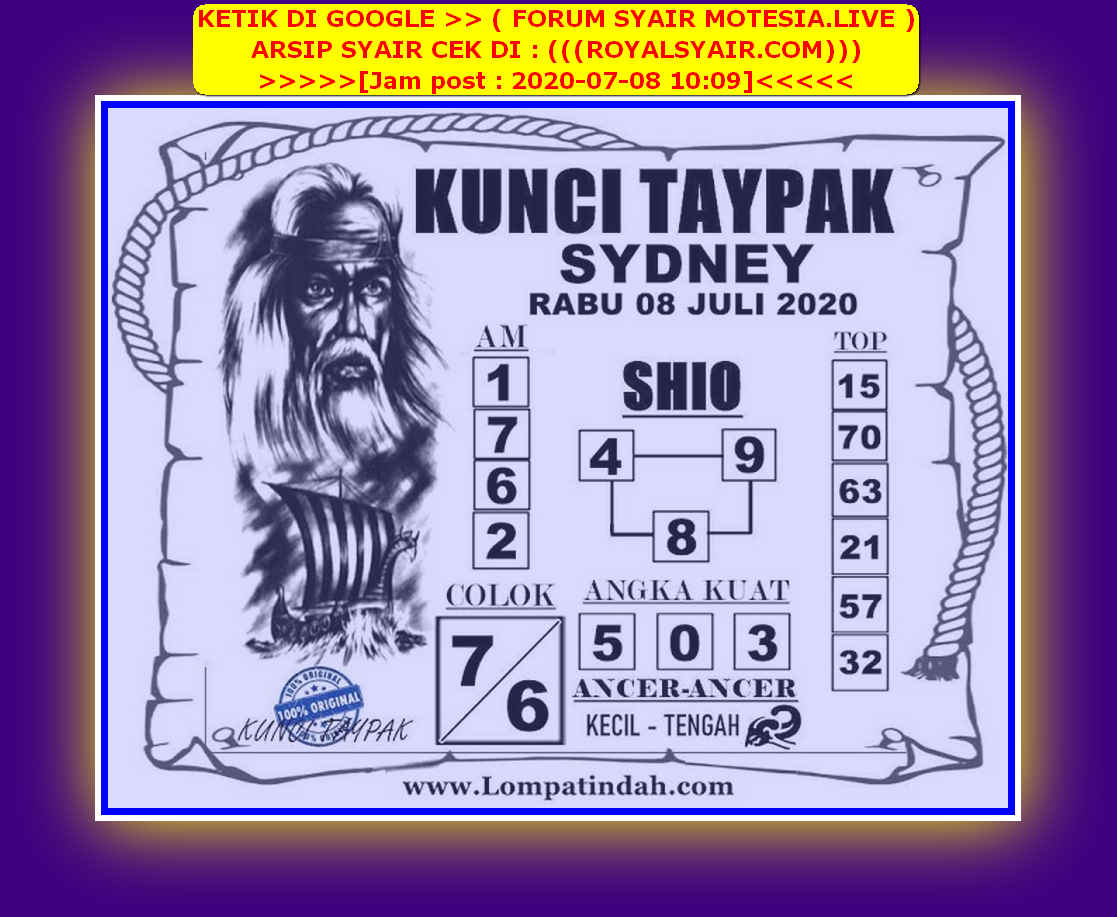 Kode syair Sydney Rabu 8 Juli 2020 54