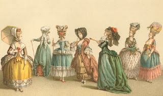Ladies wearing the a la mode of French fashion, circa 1750's. This is the usual fleeting image people think of when they are reminded of 18th Century women.