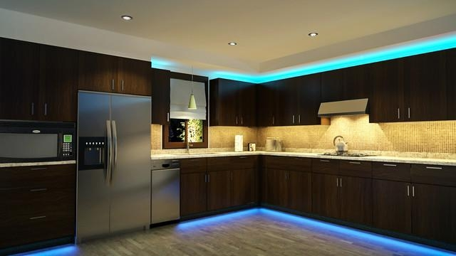 use lighting to add some drama to your kitchen   this bold turquoise color definitely stands out very well  6 ways to be smart with kitchen storage   home design ideas malaysia  rh   homespaceideas blogspot com