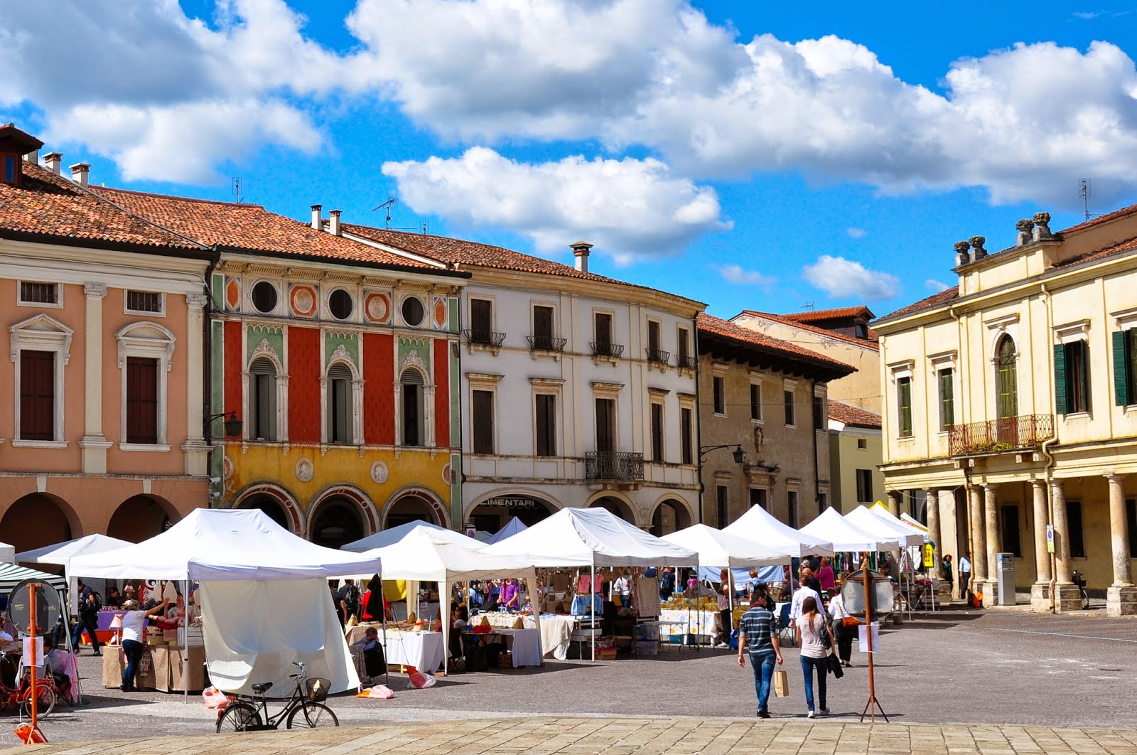 The antiques fair on the central square of Montagnana, Veneto, Italy