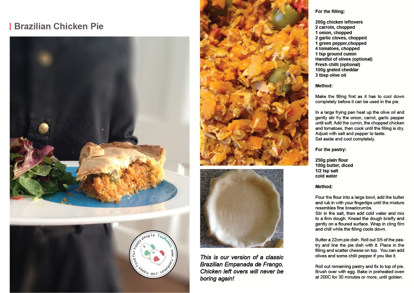 Brazilian chicken pie two mamas blog this is our interpretation of a classic brazilian empanada de frango loved by all chicken leftovers are exciting again download the recipe card forumfinder Images