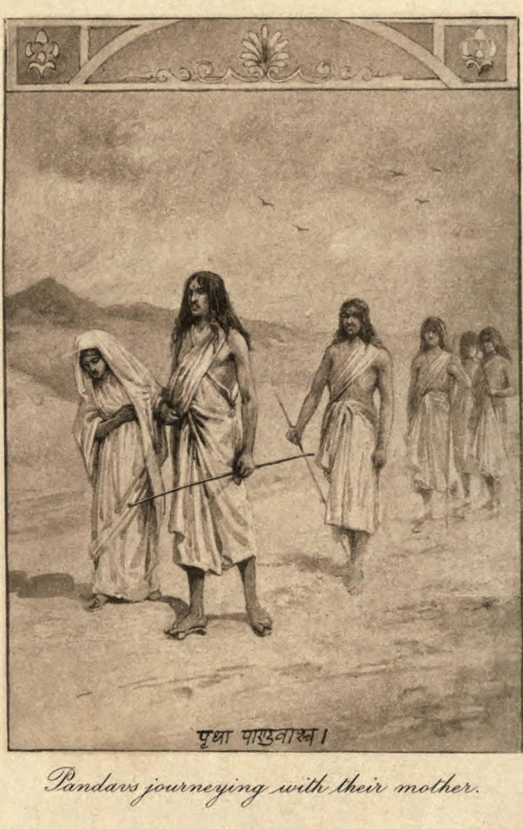 Pandavs Journeying With Their Mother