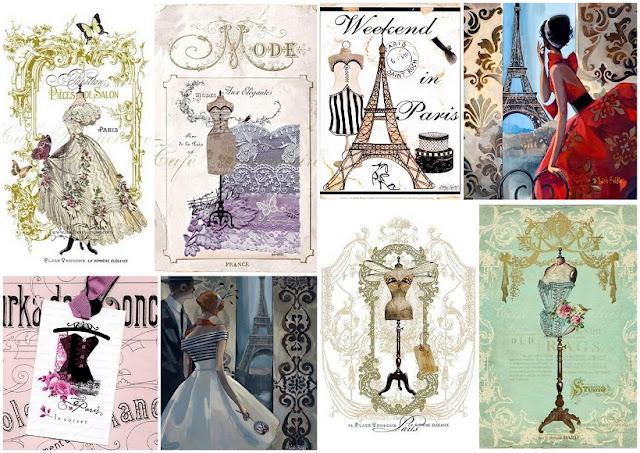 Paris Old Fashion: Invitaciones, Tarjetas o Etiquetas para Imprimir Gratis.