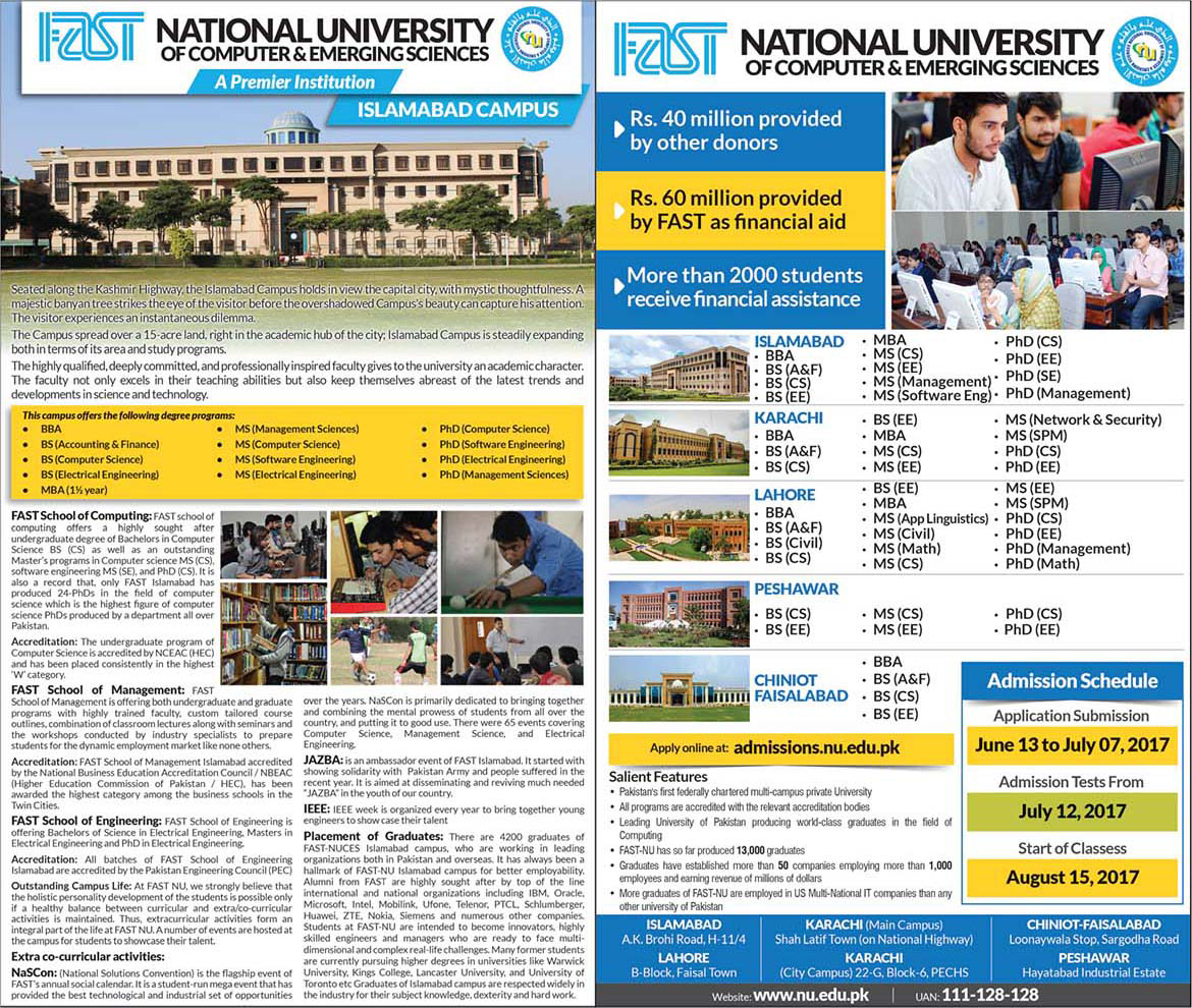 Admission Open National University of Computer & Emerging Sciences Faisalabad 16 May 2017
