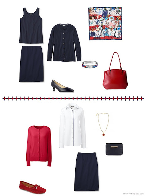 2 ways to style a navy skirt in a business capsule wardrobe
