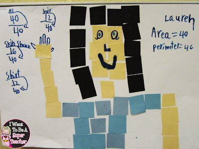 Making mosaic portraits to teach area and perimeter in the elementary classroom from I Want to be a Super Teacher