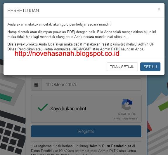 notifikasi (persetujuan) bahwa akun guru pembelajar akan diprint dan didownload pada cara registrasi dan login guru pembelajar online kemdikbud 4
