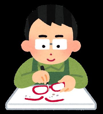 メガネの修理をする人のイラスト