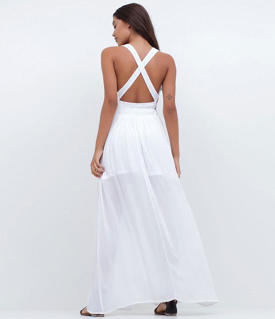 Moda vestido longo com bordado