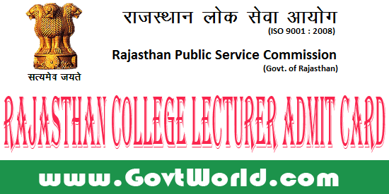 RPSC College Lecturer Admit Card 2016