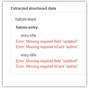 "Error: Missing required hCard ""author"" dan Error: Missing required field ""update"" yang terjadi di rich snippets testing tool"