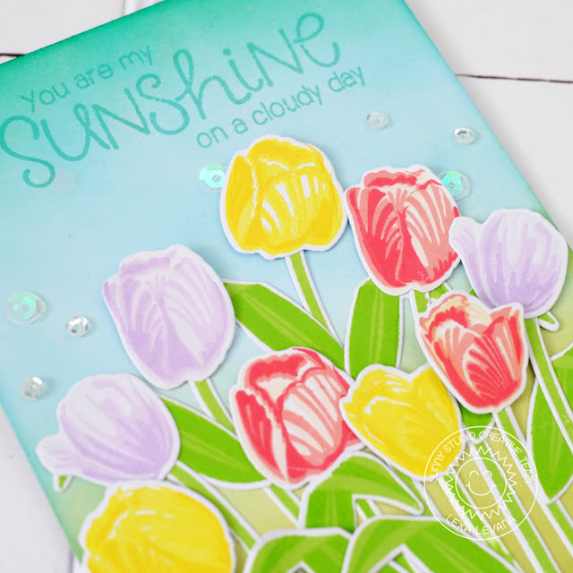 Sunny Studio Stamps: Tulip Sunshine Themed Card by Lexa Levana