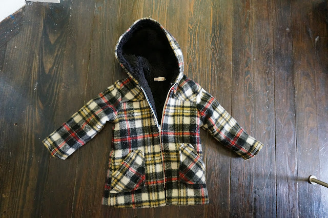 70s plaid jacket woolen kid années 70 veste carreaux vintage 1970s