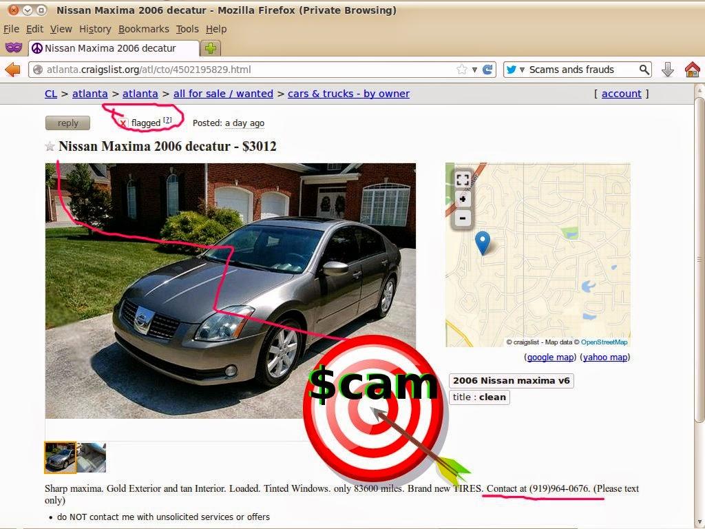 Vehicle scams google wallet ebay motors amazon payments ebillme western union money gram etc