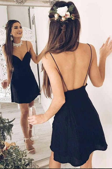 Deep V neck prom dress