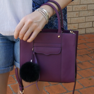 denim shorts, blue kimono with Rebecca Minkoff mini MAB tote in plum | away from the blue
