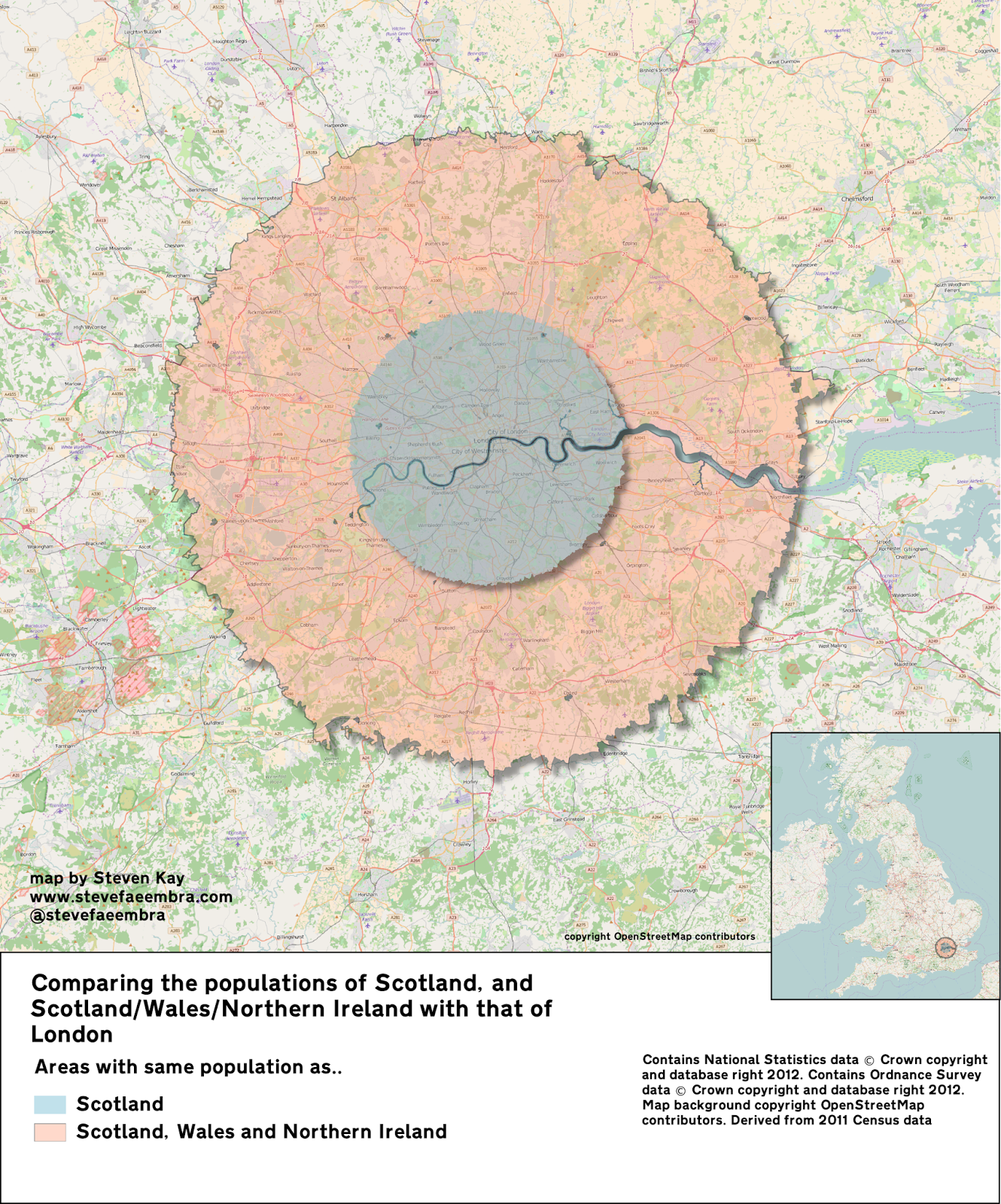 Comparing the population of Scotland with London