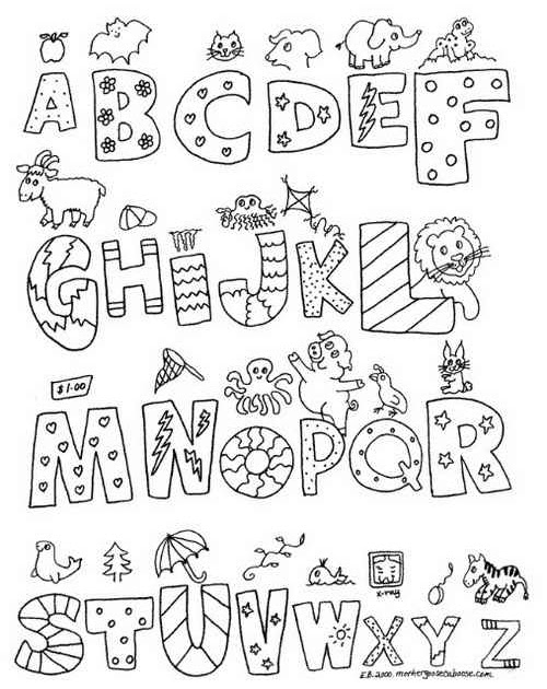 Alphabet Letters Black and White: A-Z Graffiti Print Coloring