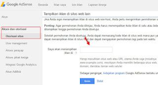 Cara otorisasi situs di akun adsense