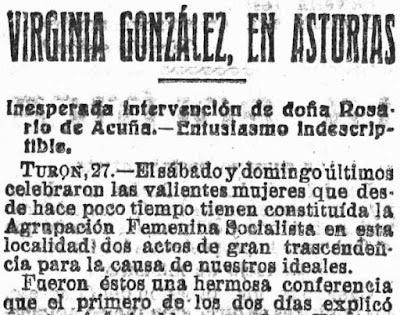 Fragmento de la crónica del mitin de Turón publicada en El Socialista, 27-6-1919