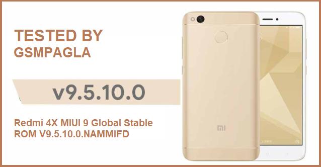 Redmi 4X MIUI 9 Global Stable ROM V9.5.10.0.NAMMIFD Firmware Download