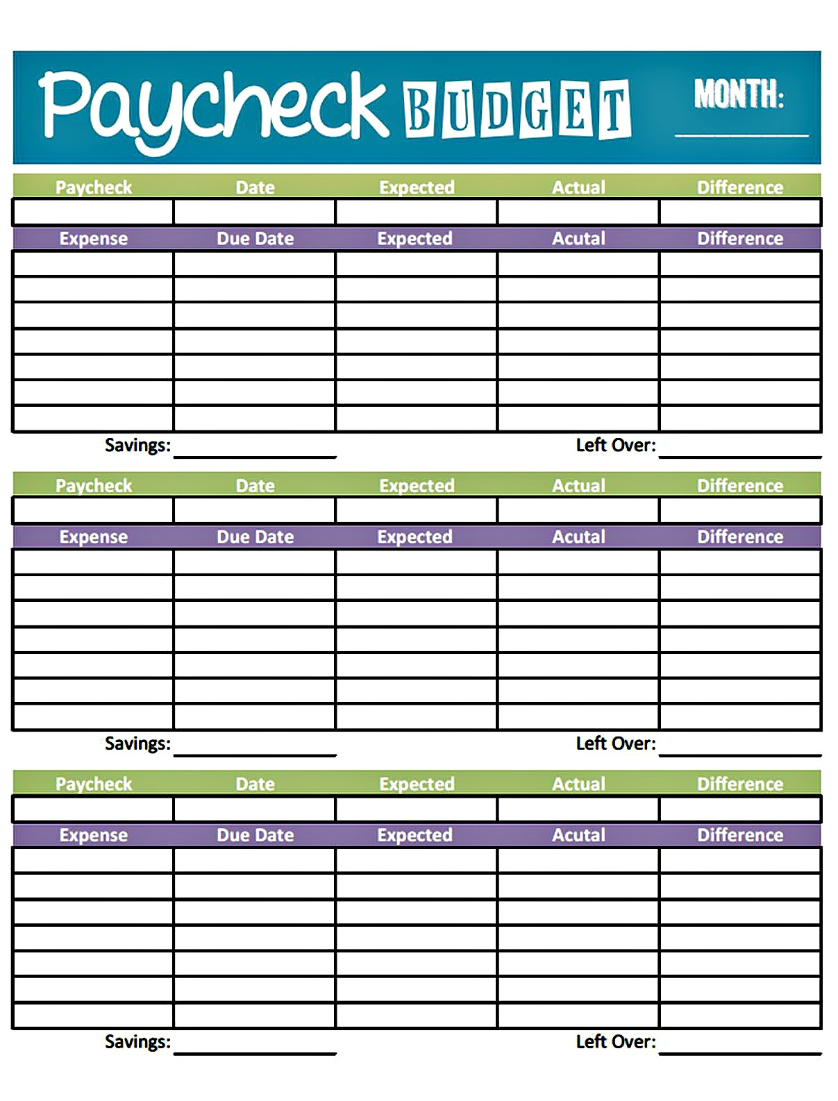 budgeting forms free