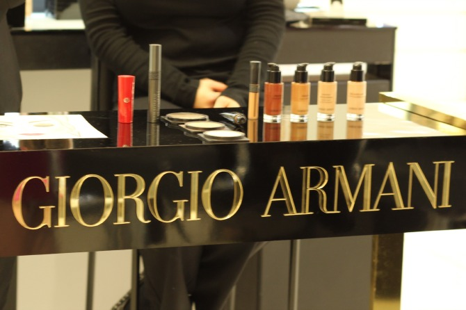 Makeup station at Georgio Armani