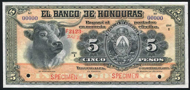 Honduras 5 pesos banknote paper money currency notes