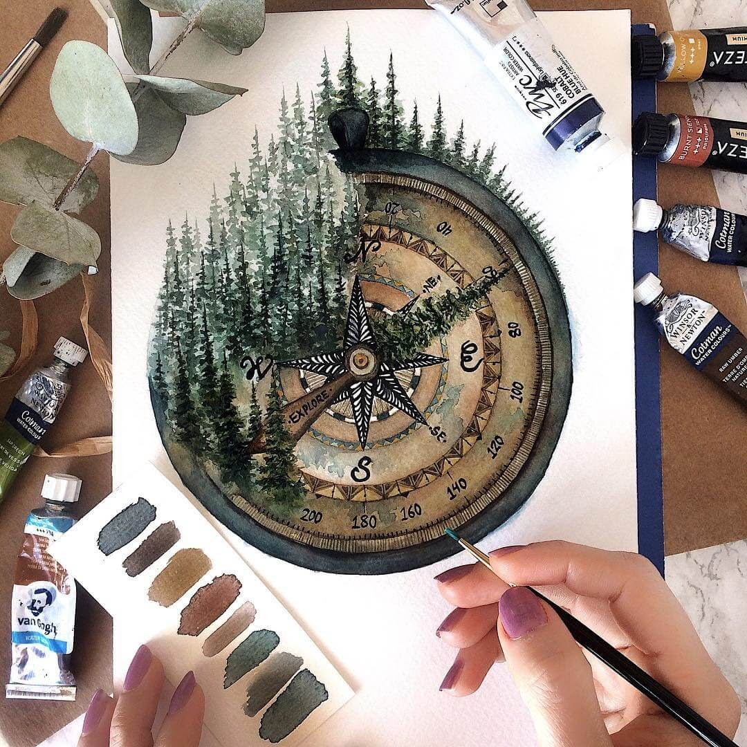 10-Compass-Forest-Tiny-Watercolors-Compasses-Light-Bulbs-and-Trees-www-designstack-co