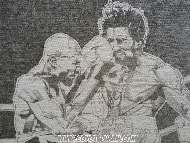 "Marvelous Marvin Hagler vs. Thomas Hearns: ""The War."" Graphite (2H) on cold press watercolor paper, prior to watercolor paint and ink, 10"" X 13"", art commission by Coyote Duran"