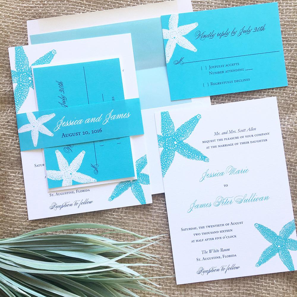 Starfish Beach Wedding Invitations - Wedding Branding | Blush Paperie