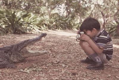 Niño fotografiando un lagarto