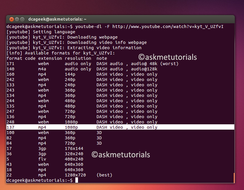 Install YouTube-dl On Ubuntu / LinuxMint / Fedora - askmetutorials