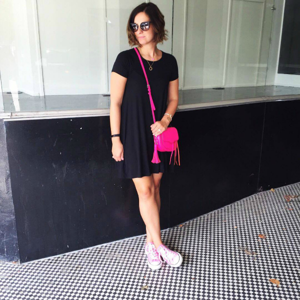 little black dress, pink converse