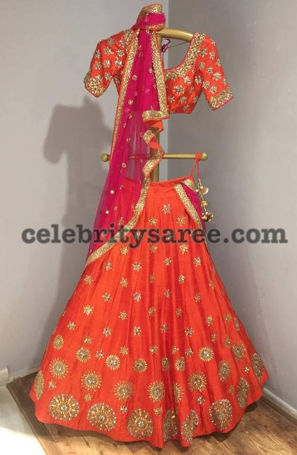 Orang Pink Trendy Reception Half Saree