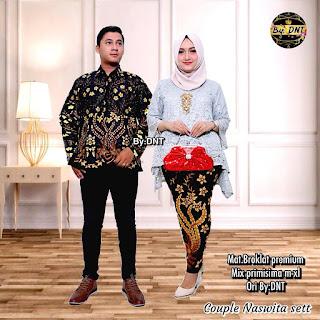 Batik Couple Kebaya Brokat Naswita Lengan Panjang