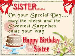 Happy Birthday wishes for sister: on your special day may the nicest