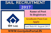 Steel Authority of India Limited Recruitment 2017– Sr. Registrars
