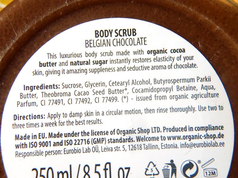 peeling cukrowy organic shop, peeling czekoladowy organic shop, organic shop belgijska czekolada