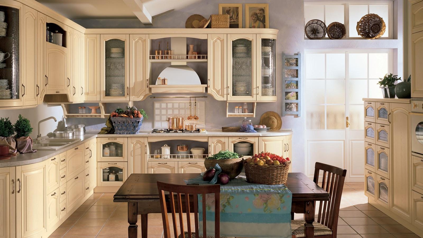 Cucina classica Margot proposta nella versione ad angolo e finitura panna.