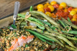 One Sheet Pan Herb Crusted Salmon with Garlicky Green Beans & Heirloom Cherry Tomatoes