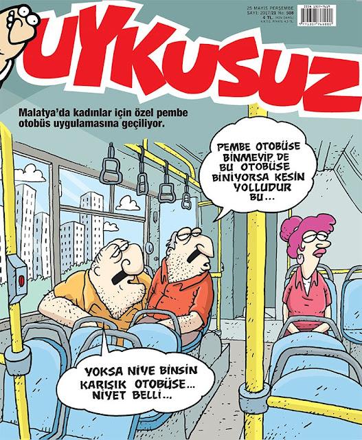 pembe otobüs karikatür
