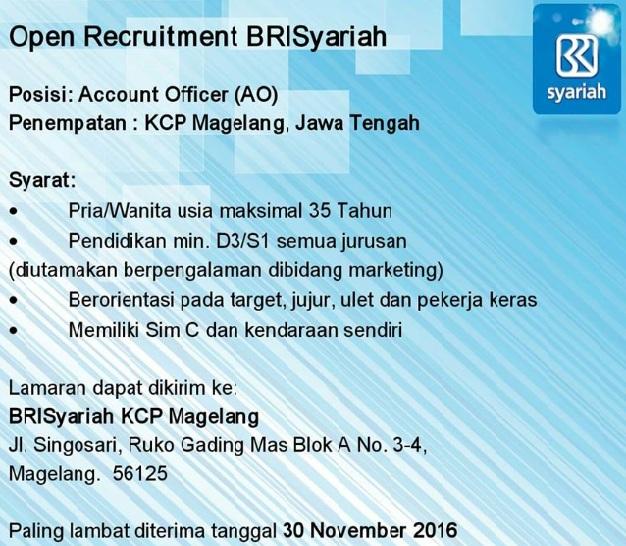 Lowongan Kerja Bank BRISyariah, lowongan Besar Besaran, lowongan november 2016