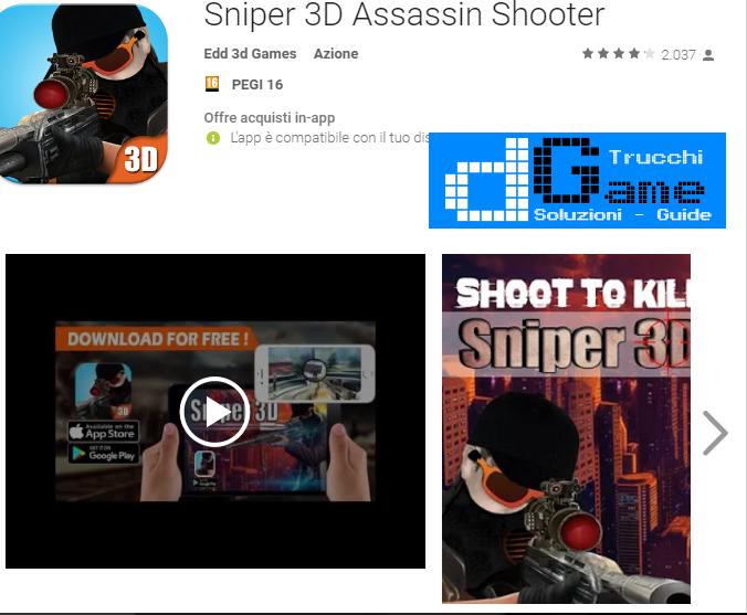 Trucchi Sniper 3D Assassin Shooter Mod Apk Android v2.0