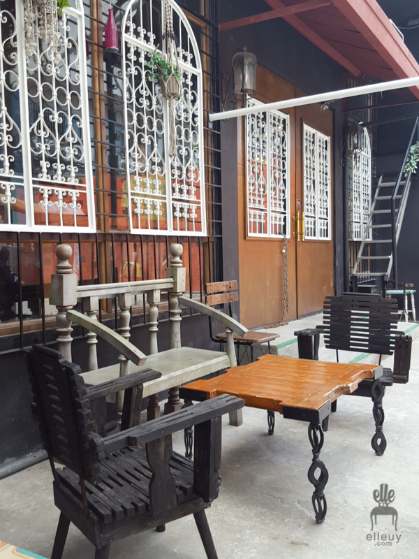 Third Space Studio Cafe, Alfresco seating, court yard, vintage window grills