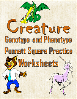Creature Genotype and Phenotype Punnett Square Practice Worksheets
