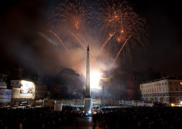 Piazza del Papolo em Roma durante o Ano Novo