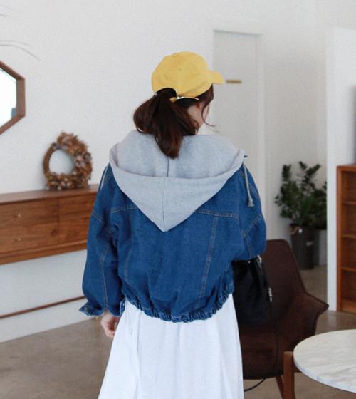 Contrast Zip-Away Hood Denim Jacket
