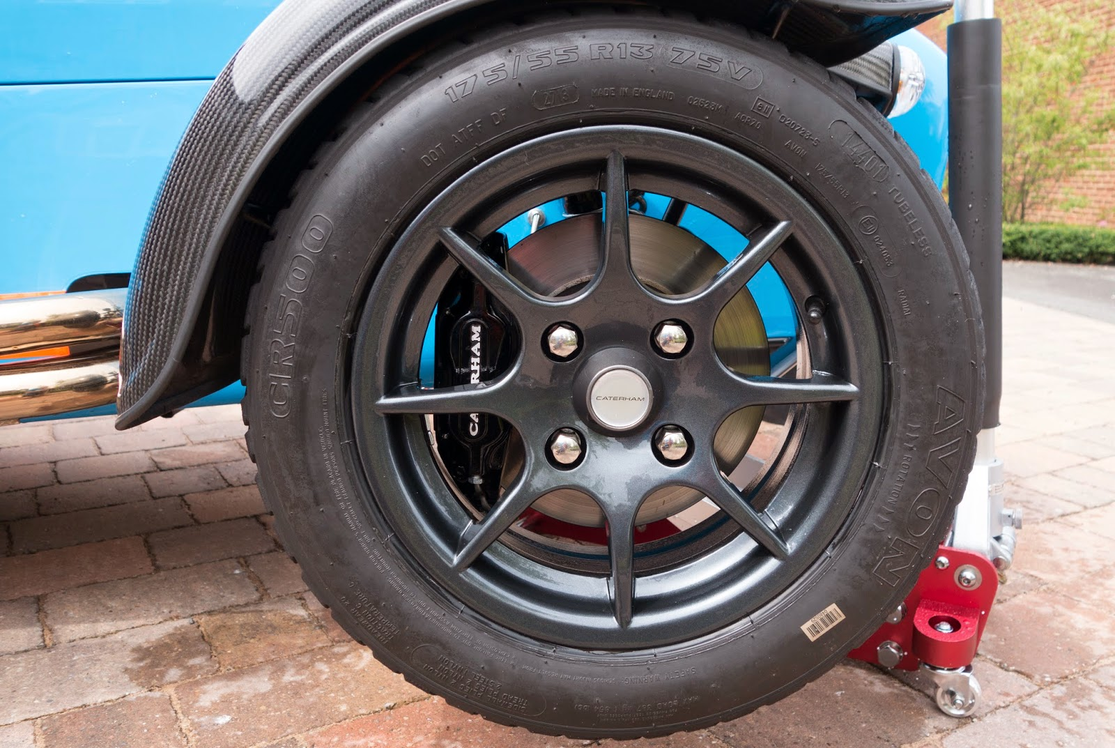 Caterham R500 13 inch wheel refitted to car after cleaning and Gtechniq C5 wheel armour being applied.