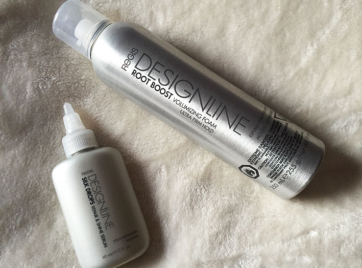 Regis Designline Root Boost Volumizing Foam and Designline Silk Drops.